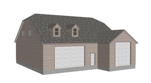 G383A 20 X 60 X 14 and 50 X 43 X 12 RV garage Plans with bonus room apartment