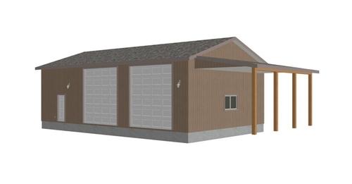 G393 30 X 50 X 14 detached RV Garage Plans PDF