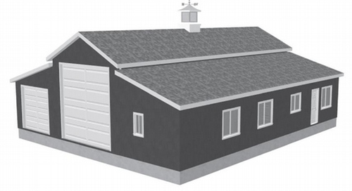 G450 60 x 50 x 10 Apartment Barn Style RV Garage Plans
