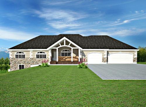 H106 Ranch Custom Classic House Plans Salon in basement 2200 SQ FT Main