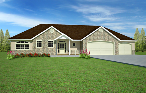H110 Ranch House Plans 1850 sq ft main 5 bedroom 4 bath in both PDF and DWG