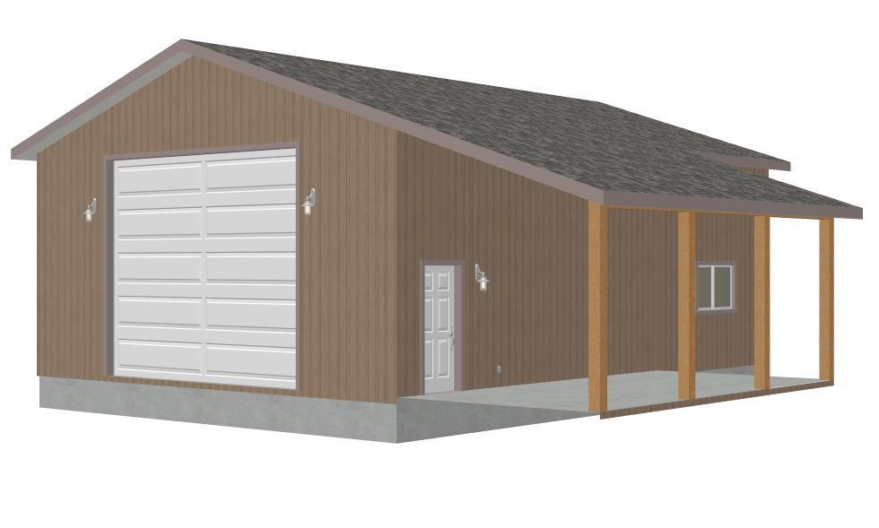 G372 30 x 40 x 14 Tall Garage Plan with PDF and DWG