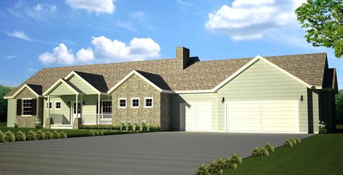 H107 Executive Ranch House Plans 2000 SQ FT Main 4 Bedroom 3 Bath in both DWG and PDF files