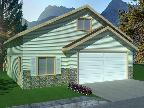 G396 Wick 8002-55, 30 X 30 X 8 Garage with Apartment Plan