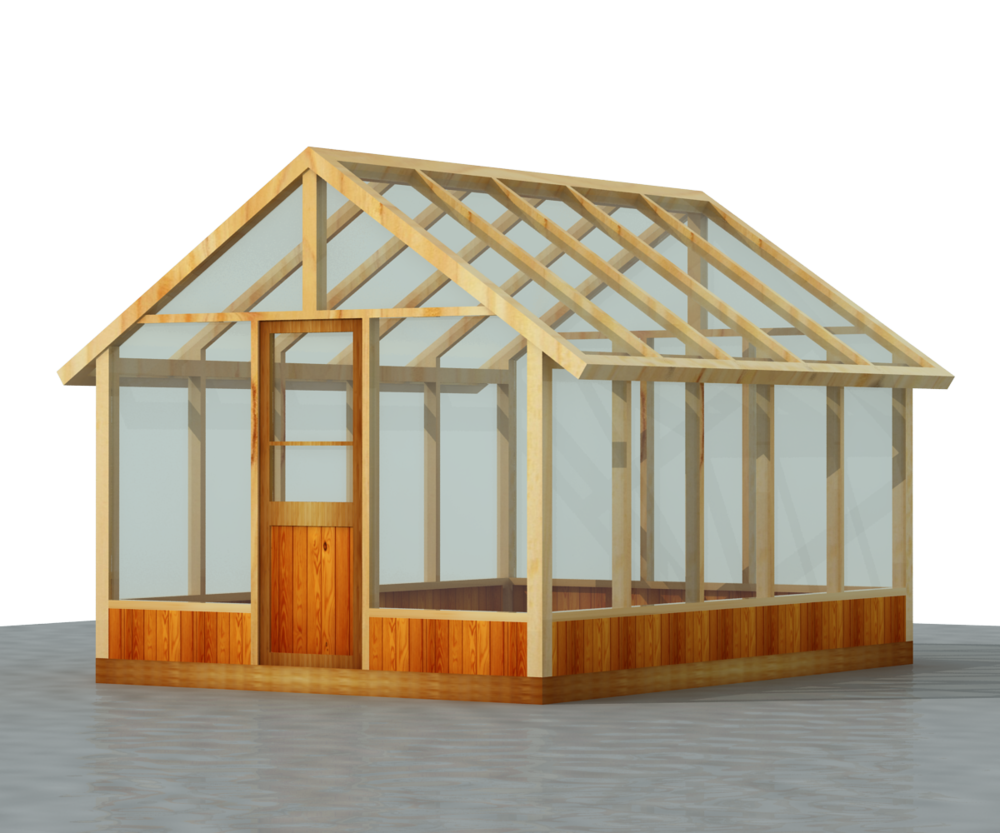 140 Sq ft 10' x 14' Wood Frame Green House Plans PDF and DWG