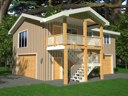 #G418 Apartment Garage Plans, 26 x 36 x 9 with 2nd story apartment