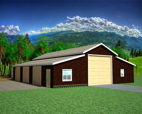 G471 Apartment Barn Style 50' x 60' - 9' Sides 14' Center Garage Plan