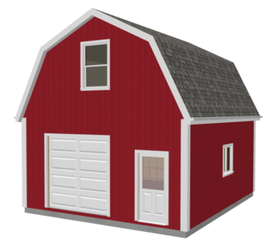 g524 20 X 24 X 10 Gambrel Garage Barn Plans PDF and DWG