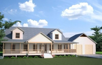 H108 Modified Cape Cod Executive Home 2600 Sq Ft Main 3 bdrm 3 bath in both DWG and PDF Files