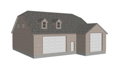 G383A 20 X 60 X 14 and 50 X 43 X 12 RV garage Plans with bonus room apartment