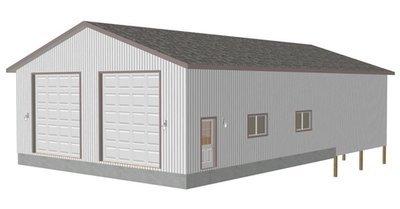 G416 38 x 43 x 14 detached shop with 38 x 24 pole barn RV Garage Plans