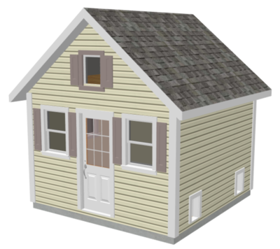 G489 12 x 12 x 8 Garden Shed / Chicken Coop / Playhouse / Bunkhouse