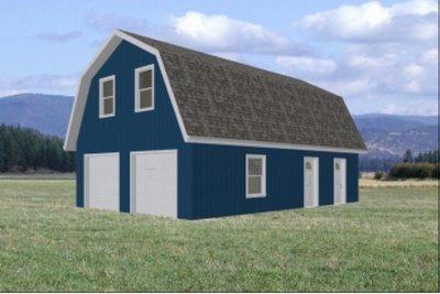 Gambrel Roof Garage 24' x 36'