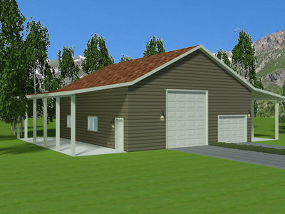 G382 Renderings 38' X 44' X 14' Detached Garage with Apartment and Lean-too