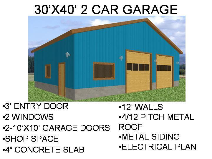 #60 30' X 40' 2 CAR GARAGE PDF and DWG files