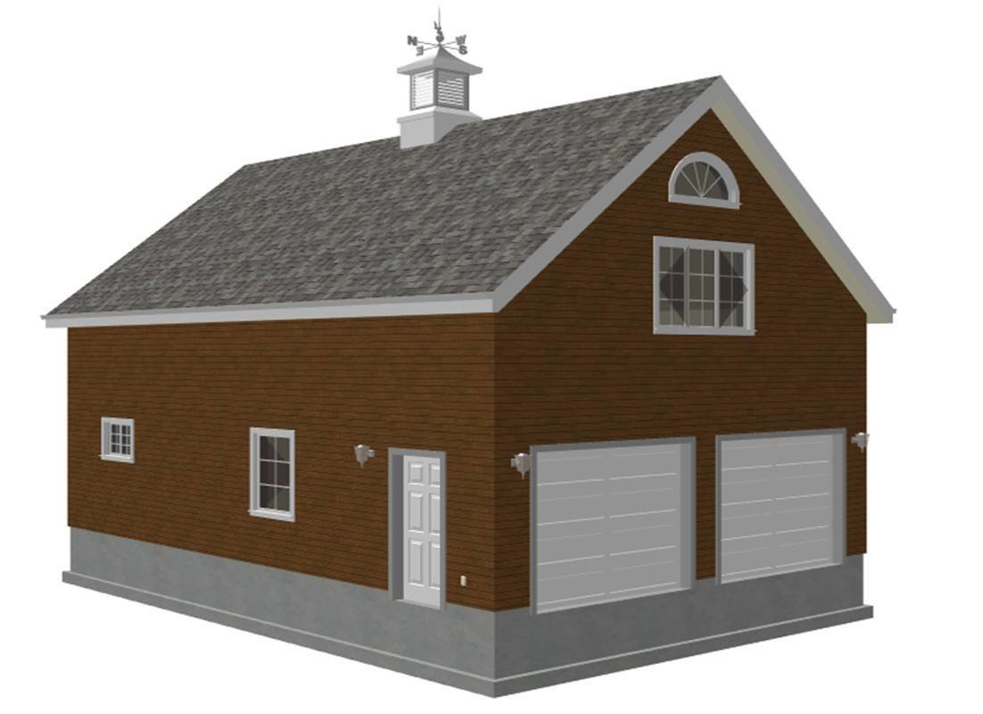 #G440c 24' x 36' x 8' - 2 story barn workshop plans With PDF and DWG