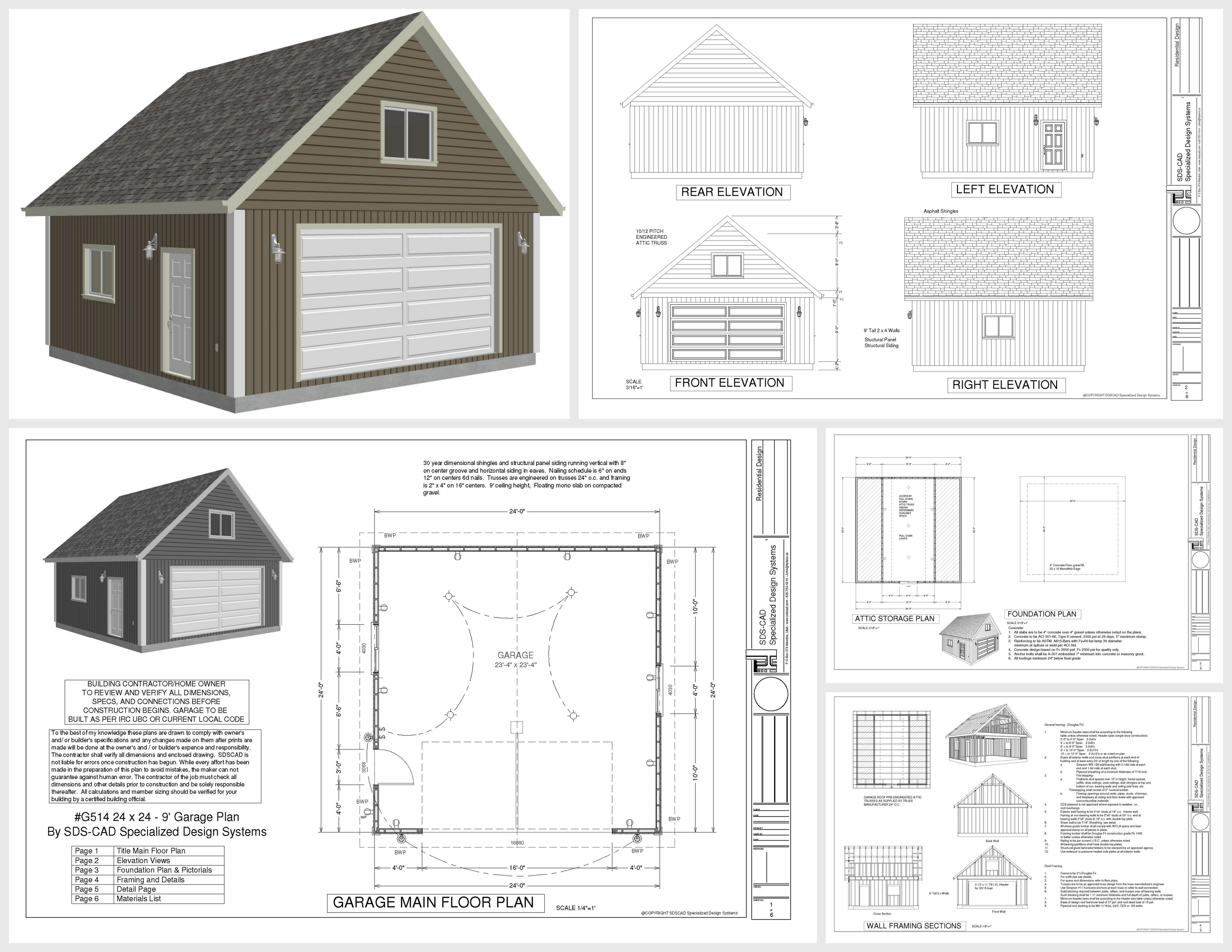 G514 24 X 24 X 9 Loft Garage Plans In Pdf And Dwg