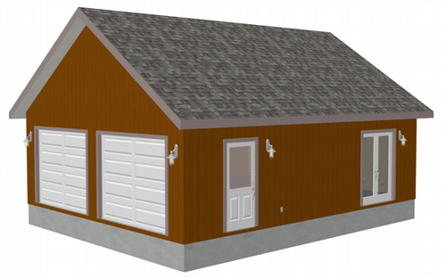 g472 24 x 30 x 9 two car garage plans with scissor truss with PDF and DWG