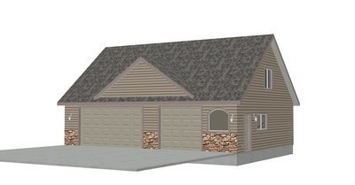 #G424 40'x30' x 9' detached garage plans with bonus room in PDF and DWG