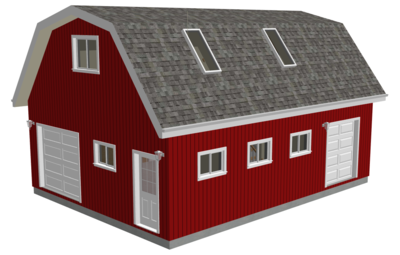 #G551 24' x 32' x 10' Gambrel Barn Plans With Loft in PDF and DWG