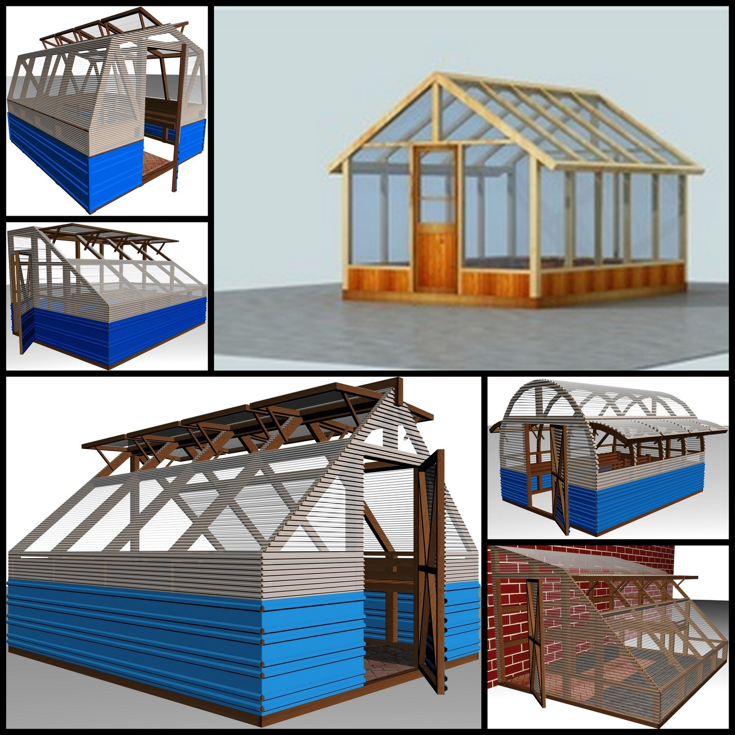 6 Complete Wood Frame Green House Plans DWG and PDF