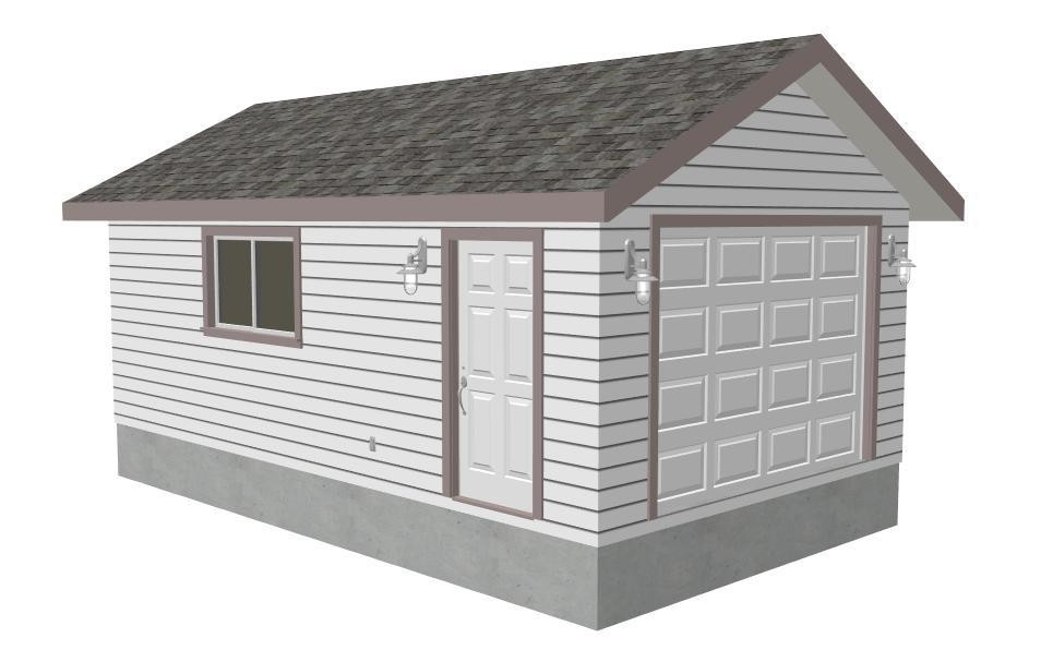 14 x 24 x 8 Garage Plans with PDF and DWG