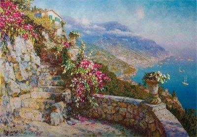 Живая картина греческий дворик серьги пусеты цветок