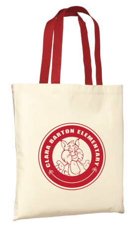 Canvas Tote Bag Beige with Red Handles