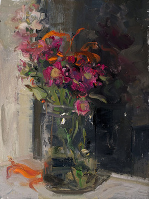 Bouquet on a Sill at Night