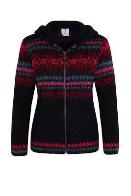 Kidka - DANGRI Women's Wool Cardigan w/Hood (black/pink)