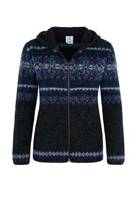Kidka - DANGRI Women's Wool Cardigan w/Hood (black/blue)
