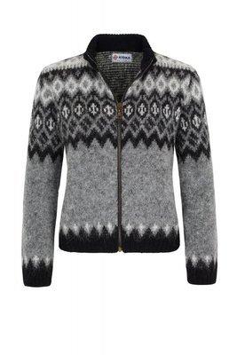 Kidka - ÞING Woman's Wool Cardigan (grey/black)
