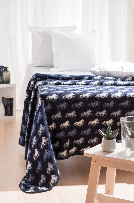 Wool Blanket/Throw - Icelandic Horse - Blue