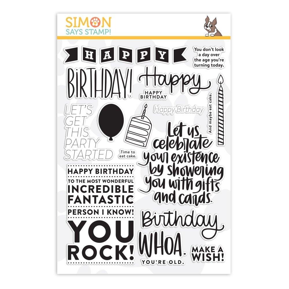 Simon Says Stamp BIG BIRTHDAY GREETINGS Clear Stamp Set