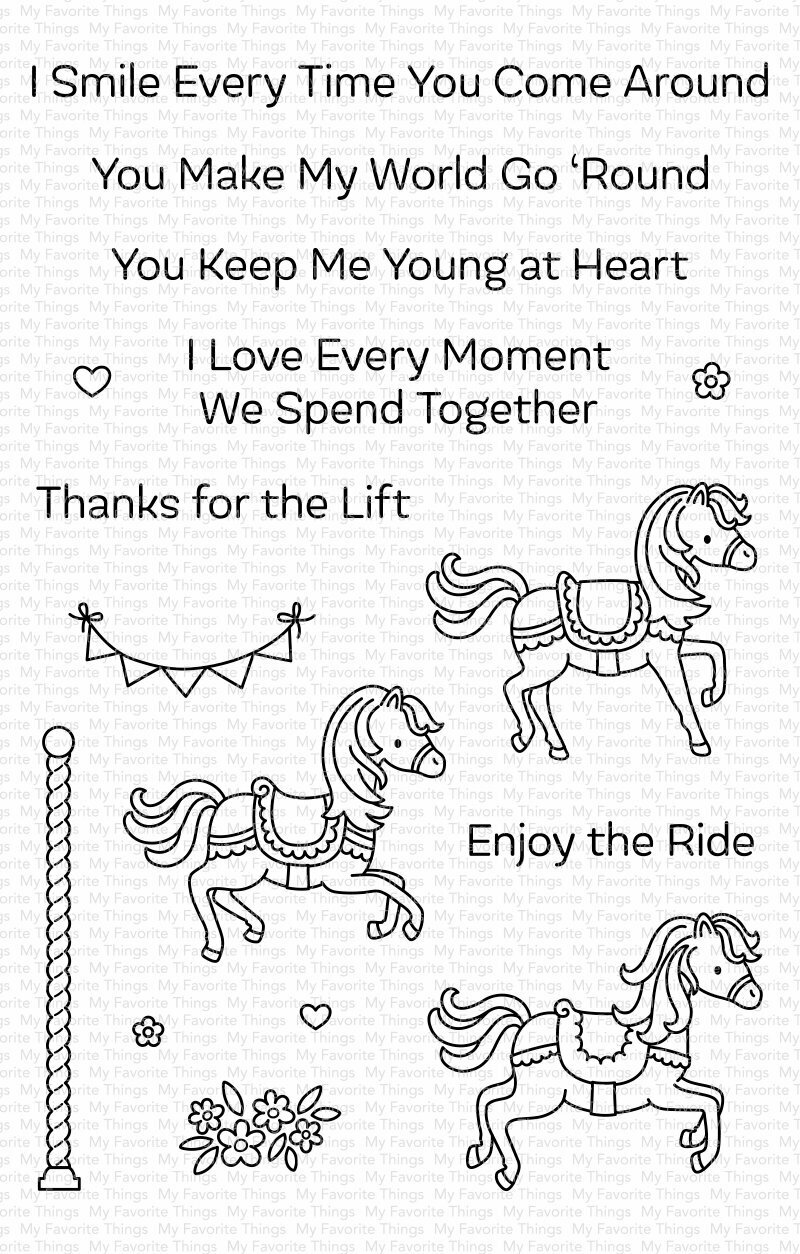 My Favorite Things CAROUSEL HORSES Clear Stamp Set