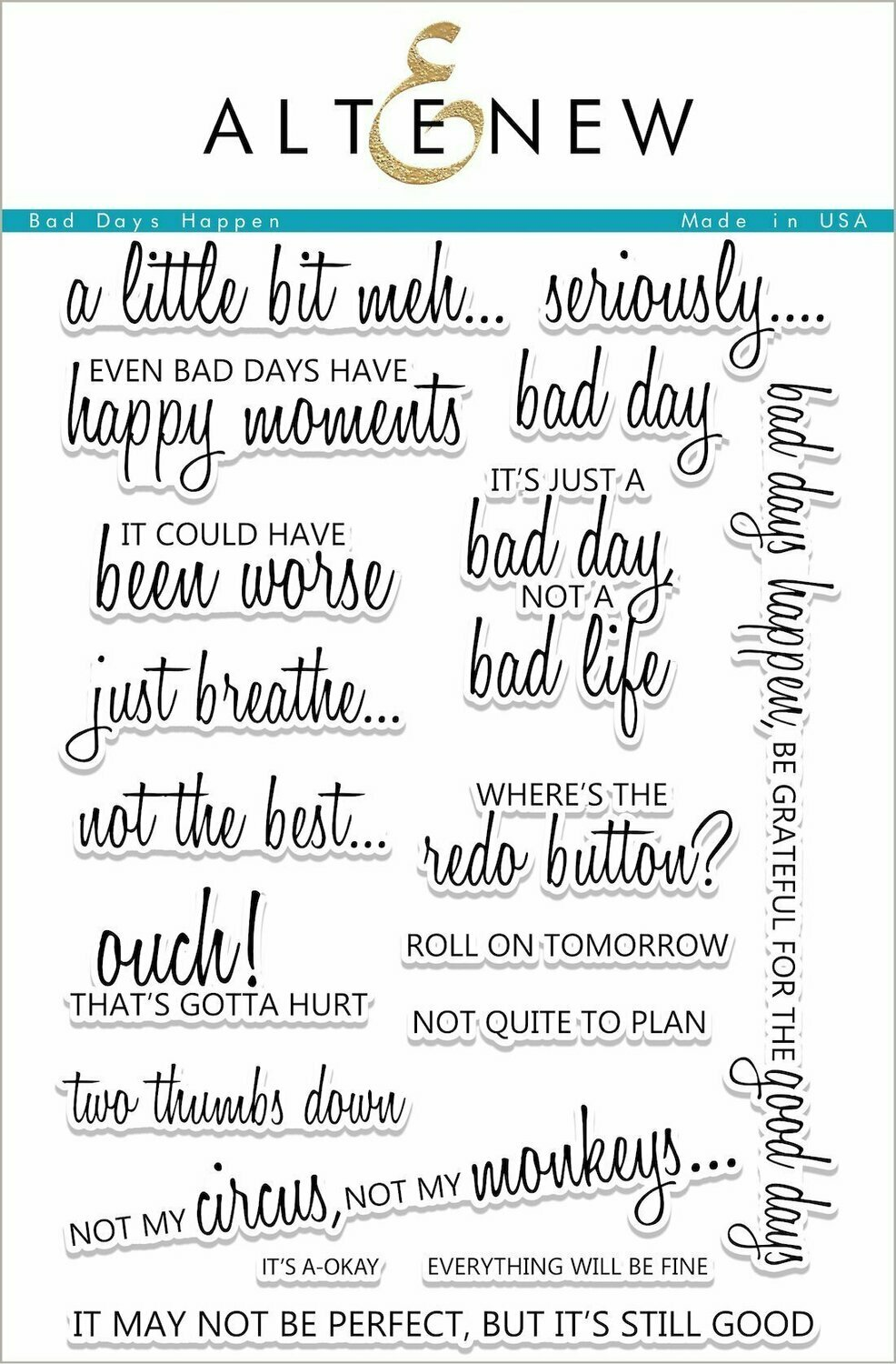 Altenew BAD DAYS HAPPEN Sentiments Clear Stamp Set