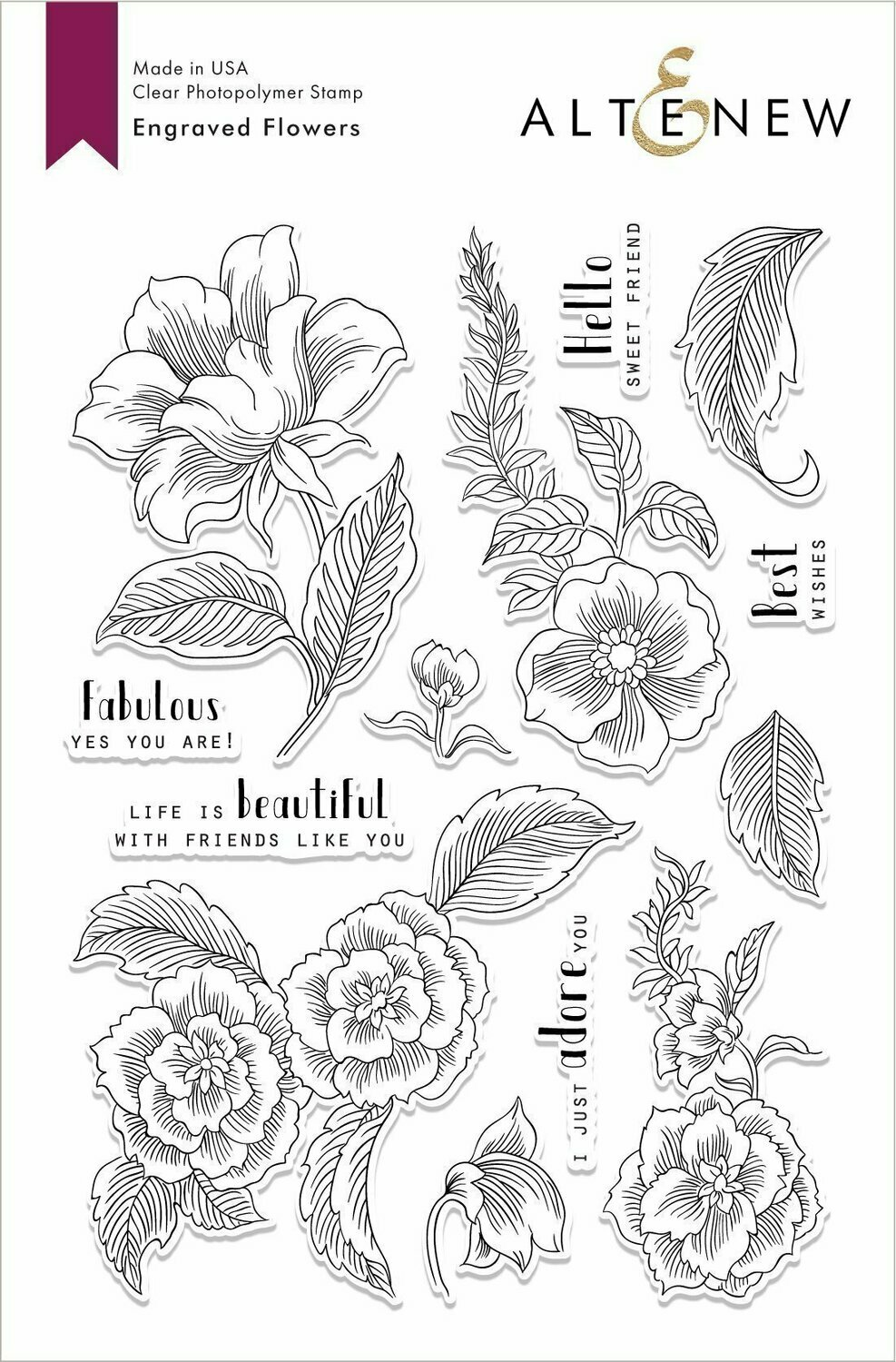 Altenew ENGRAVED FLOWERS Clear Stamp Set