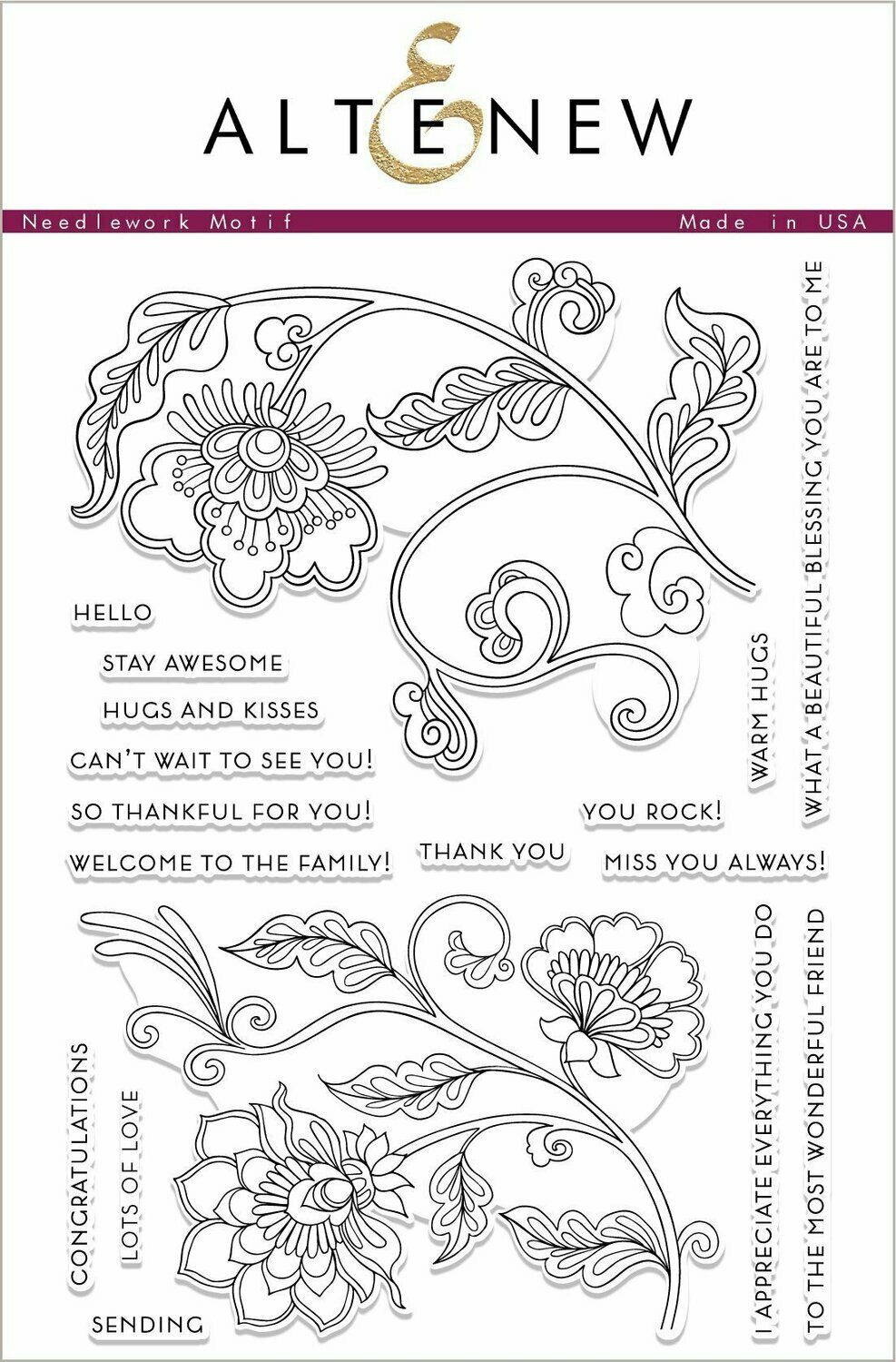 Altenew NEEDLEWORK MOTIF Clear Stamp Set