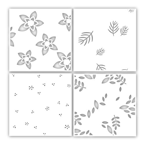Simon Says Stamp WINTER FLORAL LAYERING Stencil Set