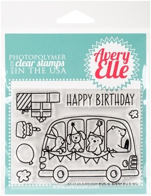 Avery Elle BIRTHDAY BUS Clear Stamp Set