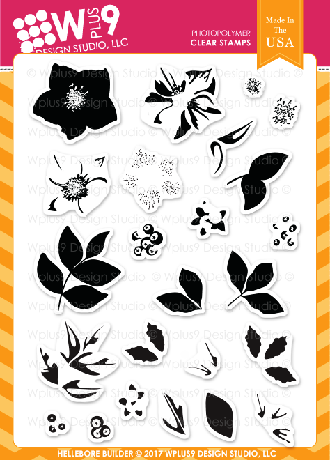 Wplus9 HELLEBORE BUILDER Clear Stamp Set