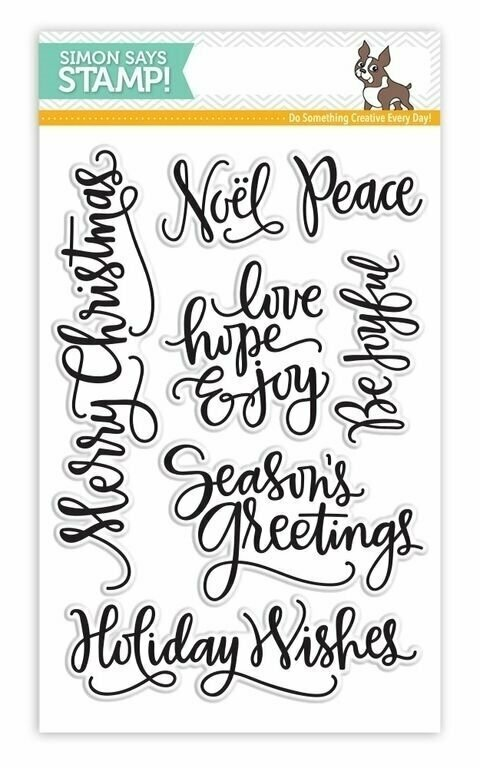 Simon Says Stamp BIG SCRIPTY GREETINGS HOLIDAY Clear Stamp Set