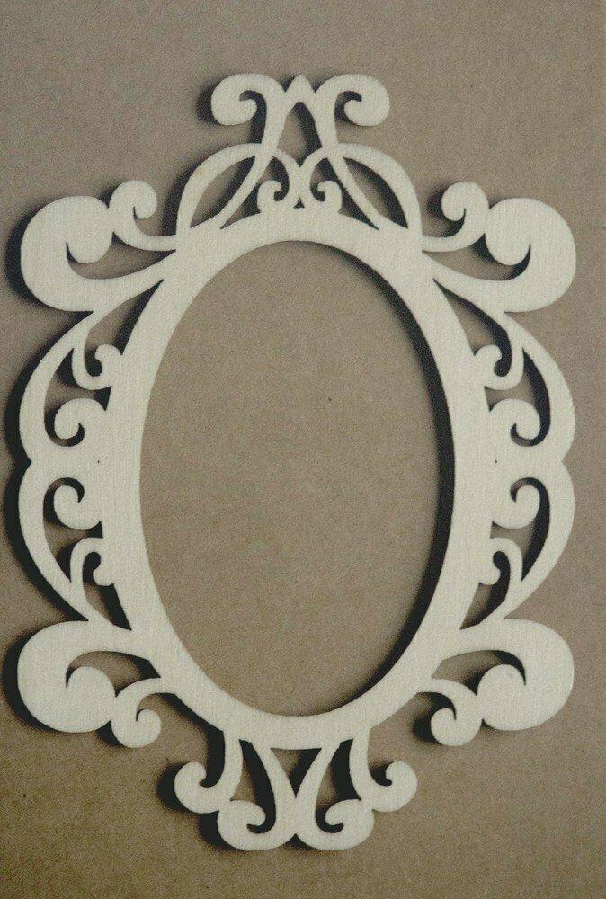 Decorative OVAL Frame Laser Cut Wood Veneer Shapes