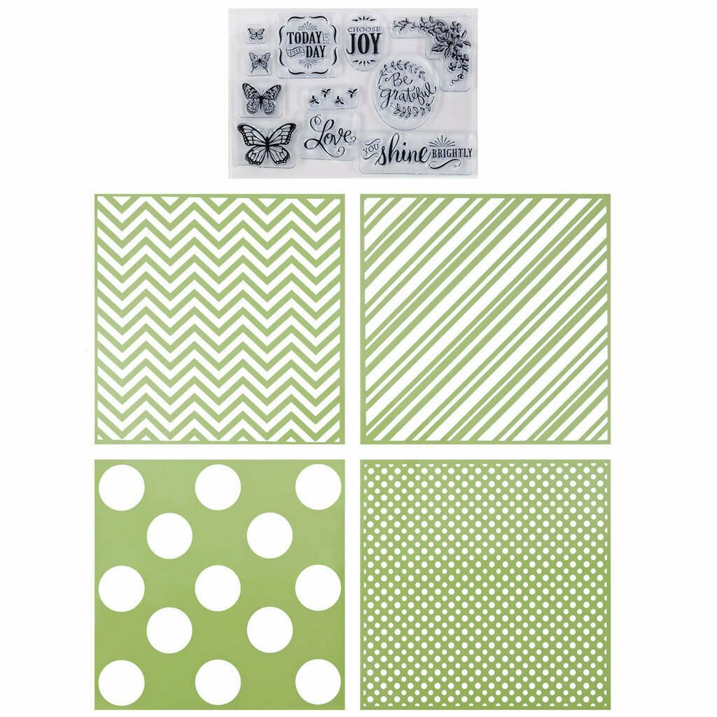 Recollections GEOMETRIC Clear Stamp & Stencil Set