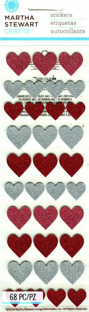Martha Stewart GLITTER HEART Craft Stickers