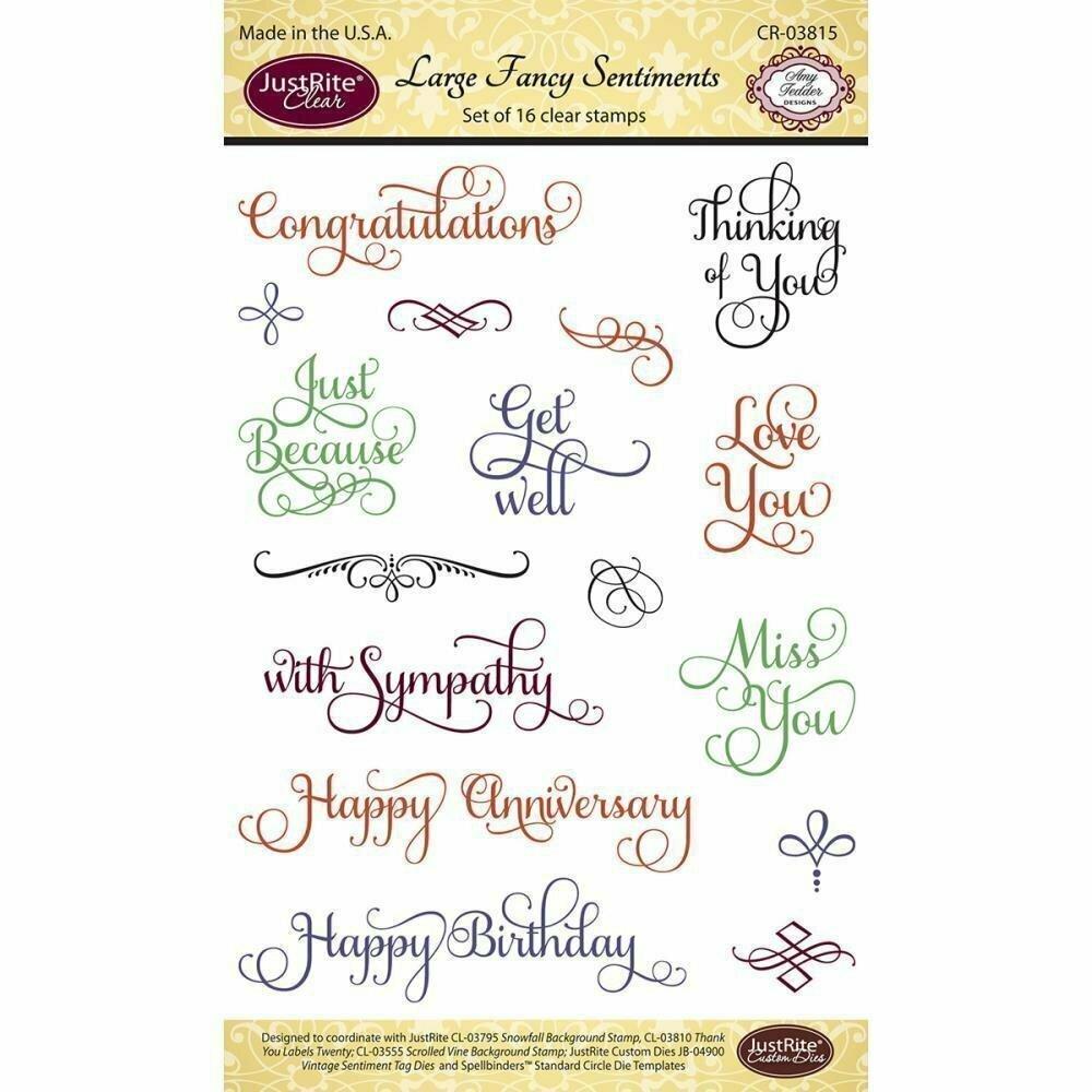 Justrite LARGE FANCY SENTIMENTS Clear Stamp Set