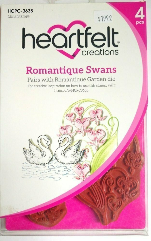 Heartfelt Creations ROMANTIQUE SWANS Cling Stamp Set