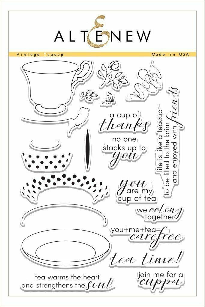 Altenew VINTAGE TEA CUP Clear Stamp Set
