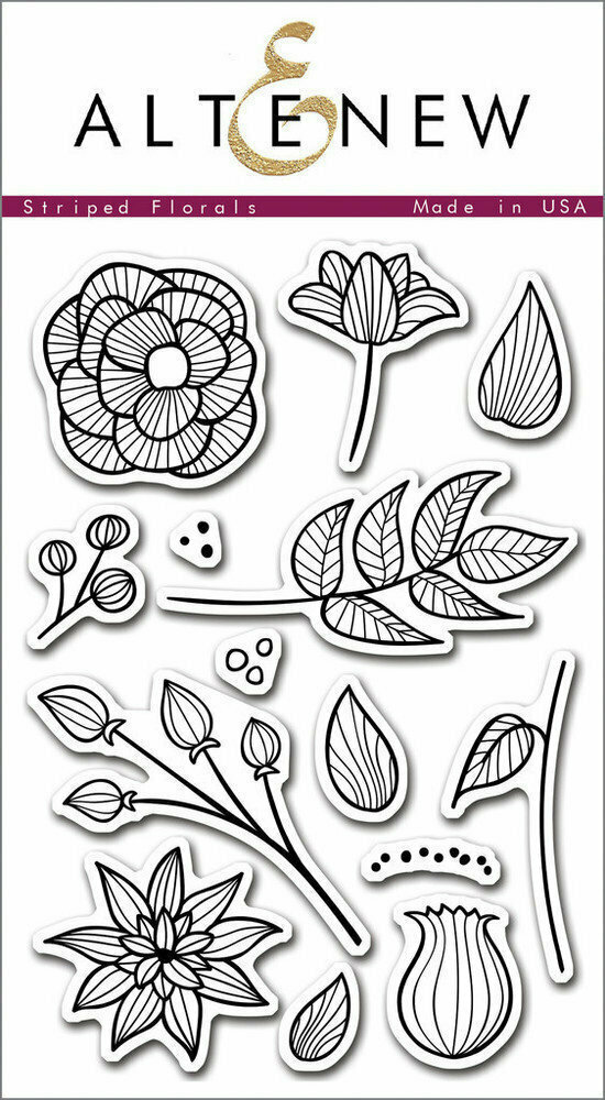 Altenew STRIPED FLORAL Clear Stamp Set