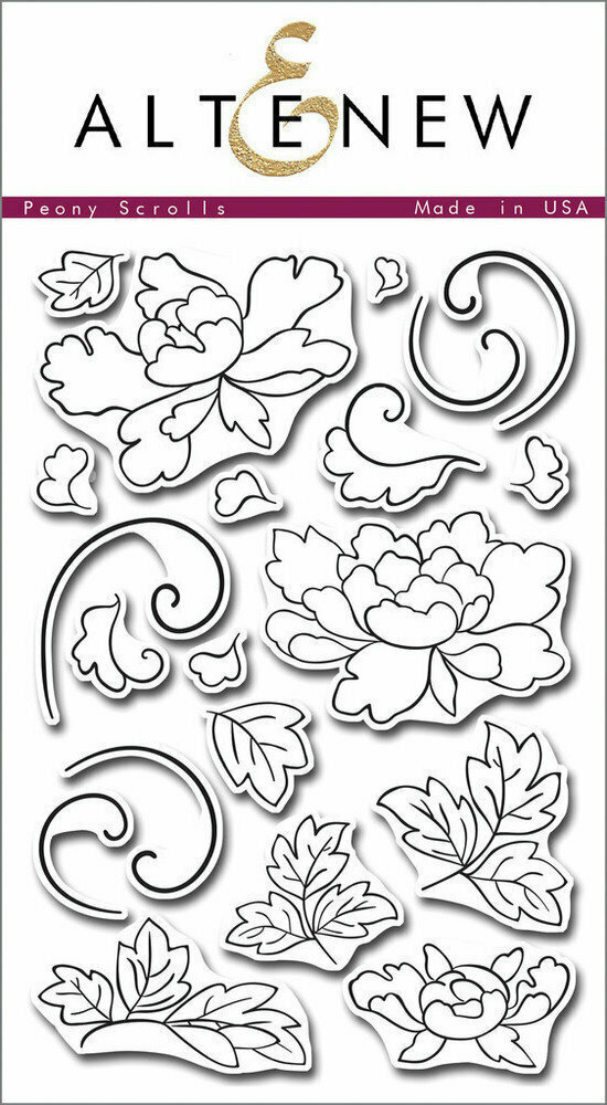 Altenew PEONY SCROLLS Clear Stamp Set
